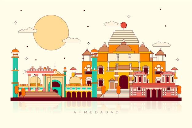 Marco colorido do horizonte de ahmedabad