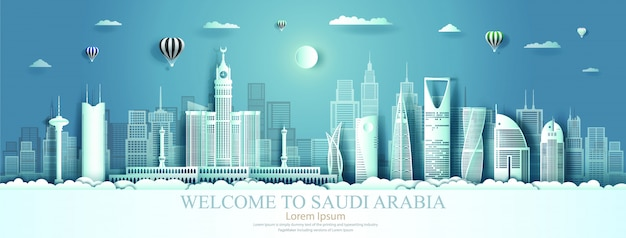 Marco da arábia saudita com fundo de arquitetura