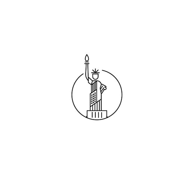 Marco da estátua da liberdade nos eua. ilustração do vetor da américa patriótica