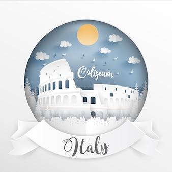 Marco da itália e edifícios com moldura branca e etiqueta.