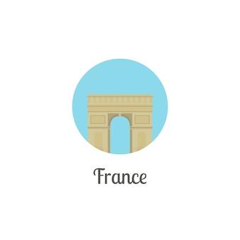 Marco de arco de frança isolado ícone redondo