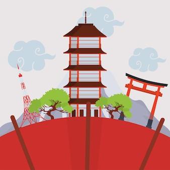 Marco de edifícios japoneses