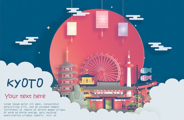 Marco de kyoto, japão para publicidade e banner de viagem