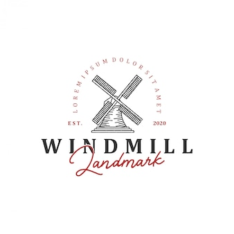 Marco de logotipo holandês moinho de vento, com arte de linha estilo vintage.