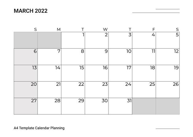 Março de planejamento de calendário modelo a4