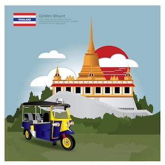 Marco de tailândia e viagens de ilustração vetorial de atrações