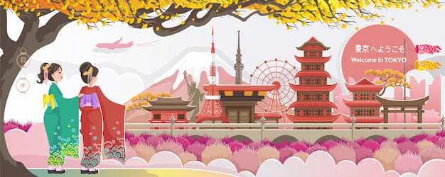 Marco de tóquio. paisagem do japão. bem-vindo a tóquio.