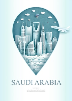 Marco de viagens arábia saudita monumento pino da ásia.