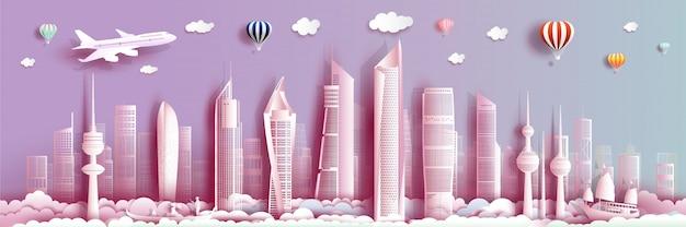 Marco de viagens kuwait com edifício moderno, horizonte, arranha-céu.