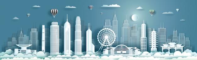 Marco de viagens no centro da china hong kong com arranha-céus urbanos