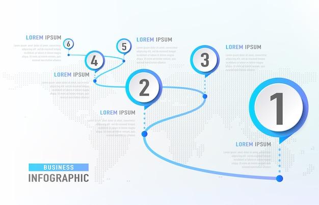 Marco do infográfico 6 da linha do tempo como uma estrada. modelo de infográfico de conceito de negócio.