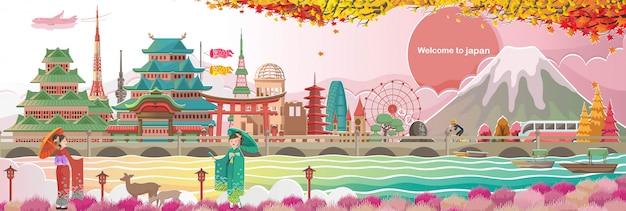 Marco do japão e paisagens. arquitetura ou construção. menina japonesa quimono vestindo vestido nacional. marco no outono