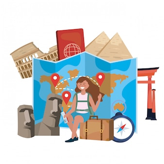 Marco e conjunto de ícones de viagens