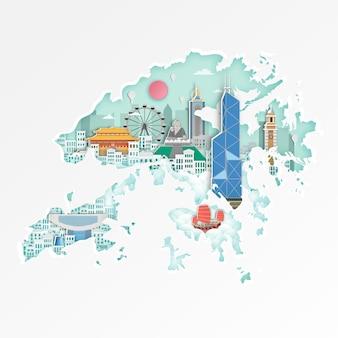 Marco famoso de hong kong no mapa para o cartaz de viagem