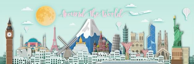 Marco famoso para viajar pelo mundo em estilo de arte de papel.