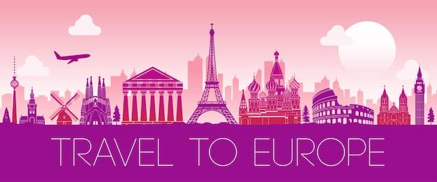Marco famoso superior da europa, cor rosa de design de silhueta