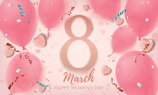 Março, fundo rosa dia das mulheres com corações de chocolate, balões, konfetti e fitas. modelo de cartão, folheto ou banner.
