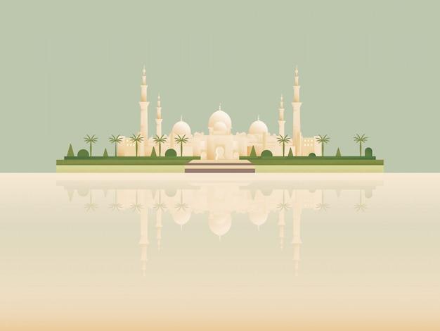 Marco minimalista dos desenhos animados da melhor mesquita islâmica famosa.