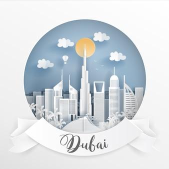 Marco mundialmente famoso de dubai e edifícios