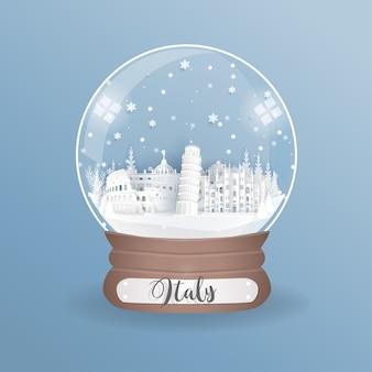 Marco mundialmente famoso de itália em uma bola de vidro.