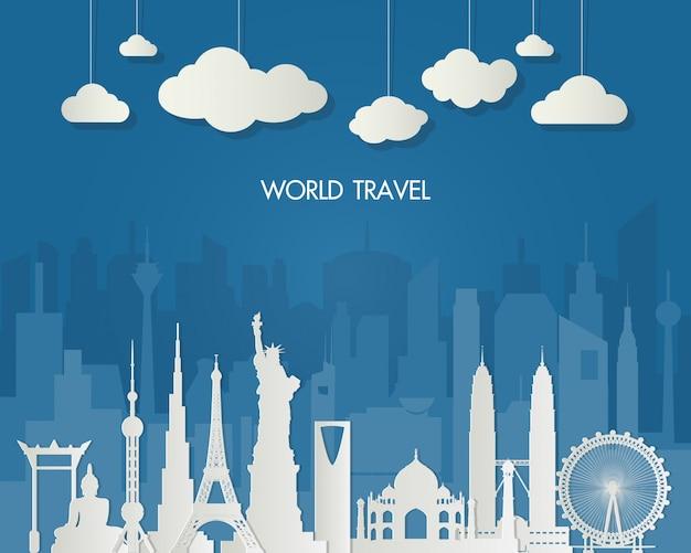 Marco mundialmente famoso. saco global de infographic do curso e da viagem.