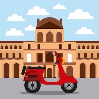 Marco museu do louvre e arquitetura de motocicleta