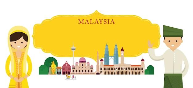 Marcos da malásia e roupas tradicionais