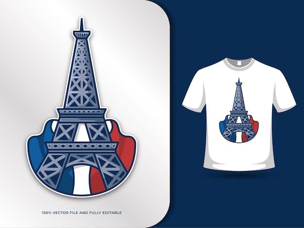 Marcos da torre eiffel em paris e ilustração da bandeira da frança com modelo de design de camiseta