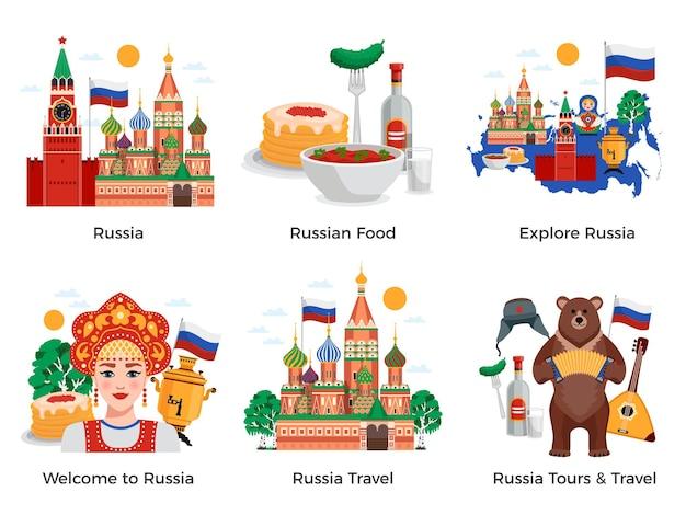 Marcos de cultura de atrações de viagens de viagens na rússia 6 composições planas com símbolos de símbolos tradicionais de alimentos