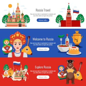 Marcos de tradições de símbolos de viagens na rússia 3 banners horizontais web plana definida com cozinha kremlin vodka