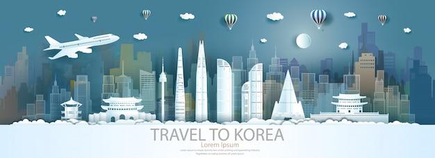Marcos de viagem cidade da coreia do sul com voo e balão.