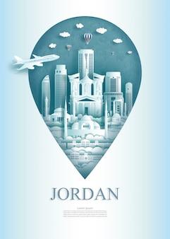 Marcos de viagem jordânia monumento pin da ásia moderna e antiga.