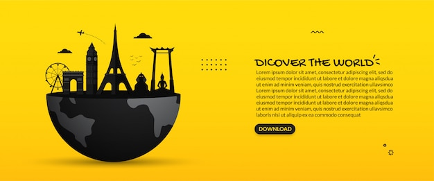 Marcos de viagens mundialmente famosos na terra, descubra o plano de fundo do mundo