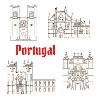 Marcos de viagens portugueses da arquitetura religiosa símbolo de linha fina