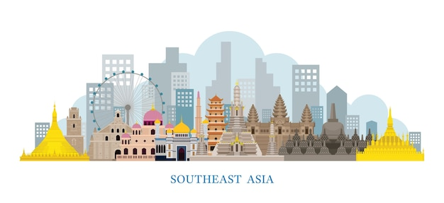 Marcos do horizonte do sudeste asiático