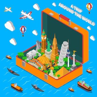 Marcos do mundo no cartaz isométrico da mala de viagem