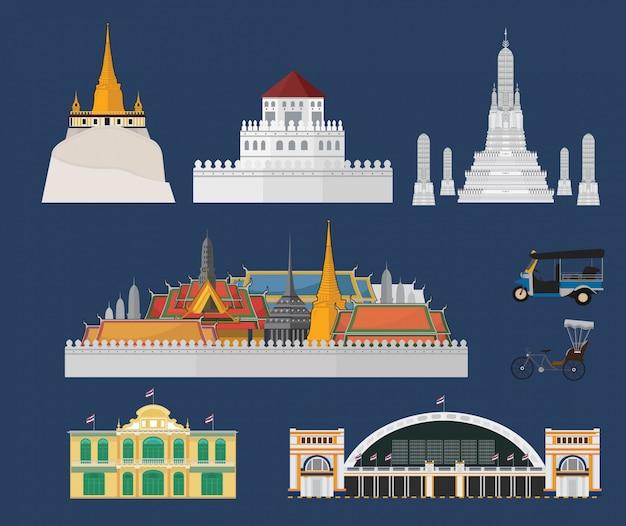 Marcos e cidade de bangkok