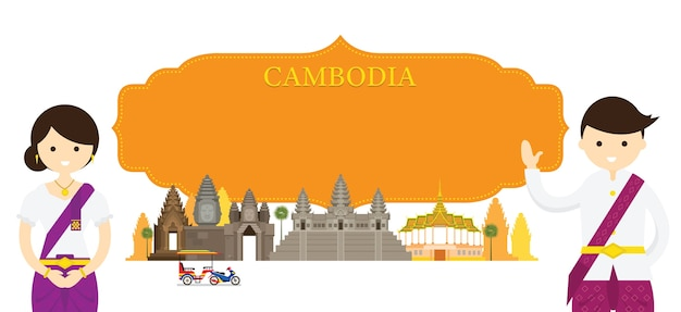 Marcos e roupas tradicionais do camboja