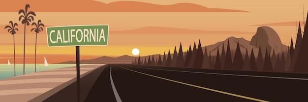Marcos e sinal de estrada da califórnia