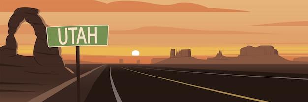 Marcos e sinal de estrada de utah