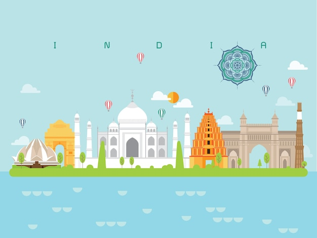 Marcos famosos da índia infográfico