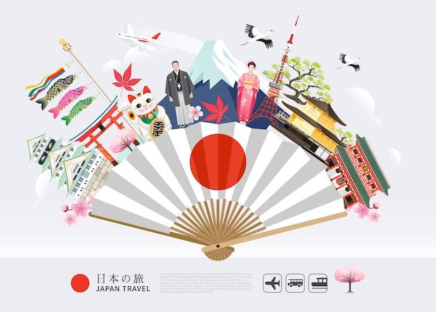 Marcos famosos do japão viajam ao fundo com a torre de tóquio