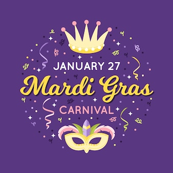 Mardi gras 27 de janeiro confete e máscara