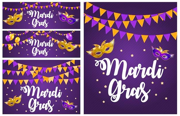 Mardi gras brochure collection set cartão templat