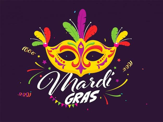 Mardi gras celebration poster com máscara de festa colorida e confetes decorados em roxo.