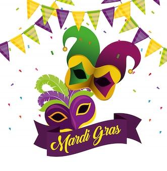 Mardi gras com decoração de festa e máscaras