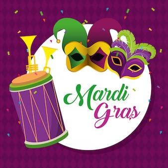 Mardi gras com decoração de máscaras de festa