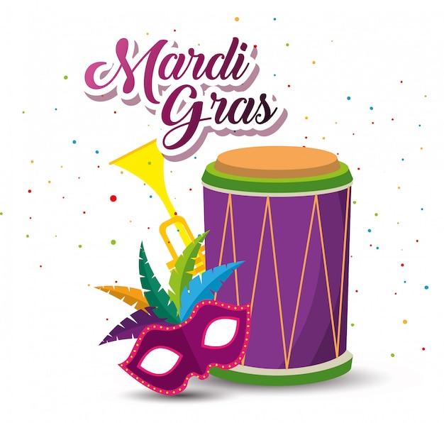 Mardi gras com tambor e trompete com máscara