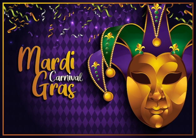 Mardi gras, festa de carnaval com máscara de ouro