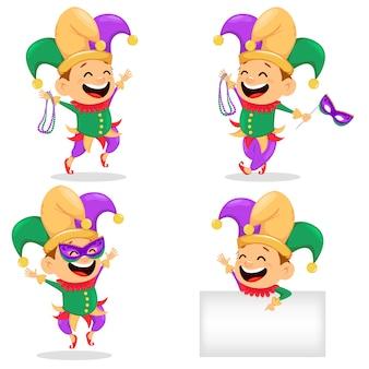 Mardi gras jester, conjunto